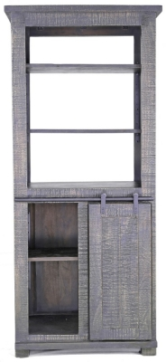Urban Deco Shabby Chic Dark Distressed 1 Door 3 Shelves Bookcase