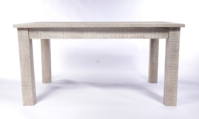 Urban Deco Shabby Chic White Washed Distressed Rectangular Dining Table - 150cm