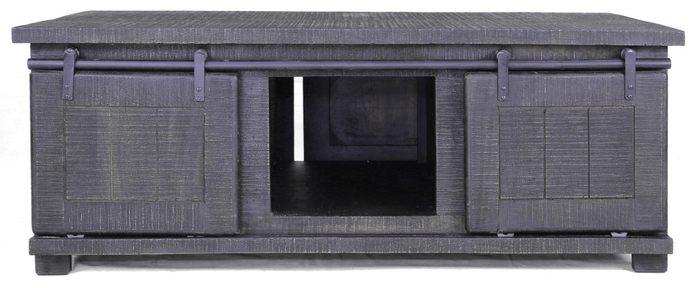 Urban Deco Shabby Chic Dark Distressed 2 Door Coffee Table