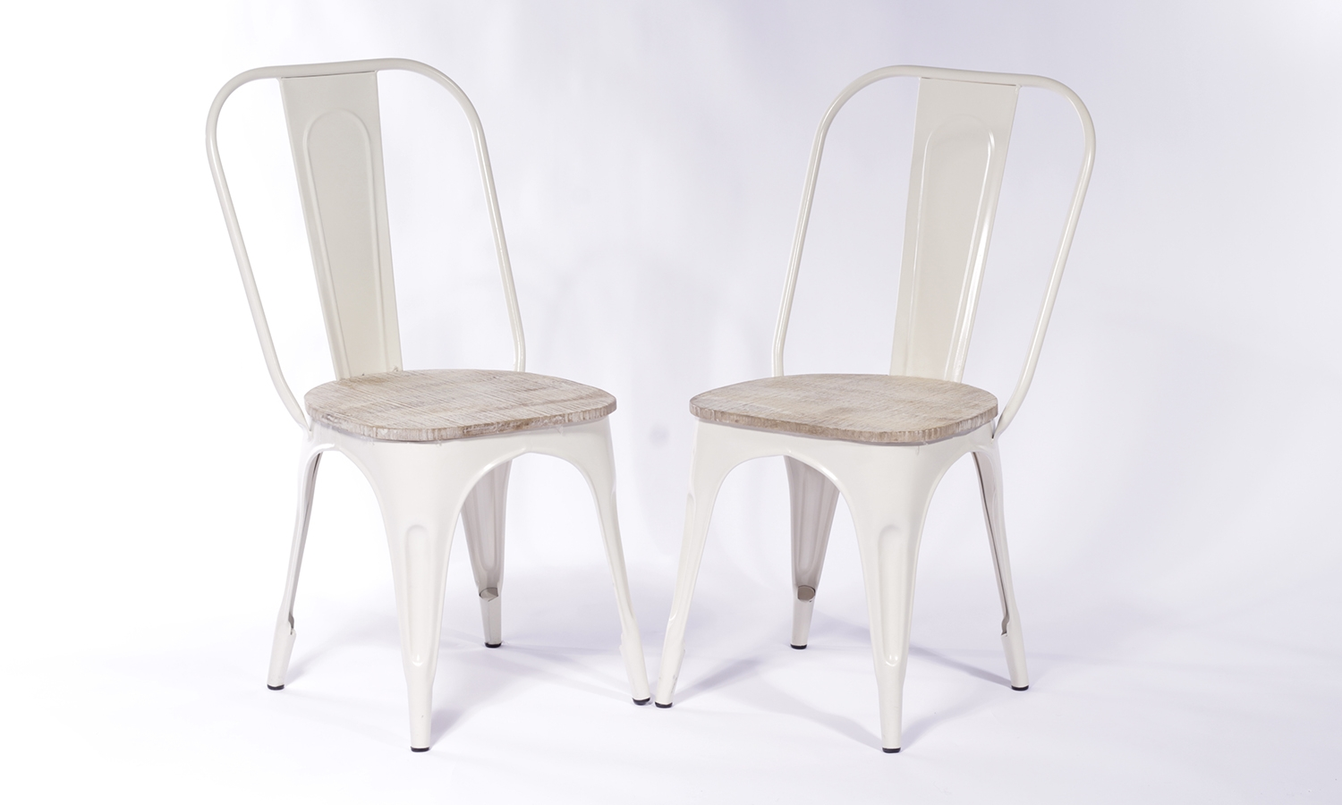 2 X Urban Deco Industrial White Iron Metal Dining Chair