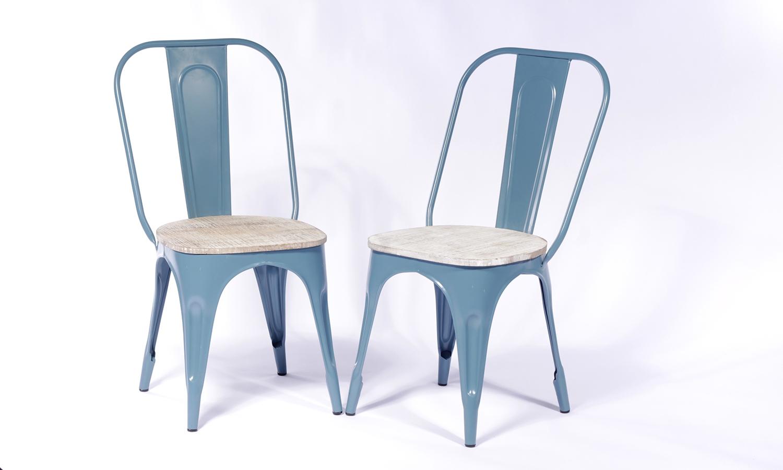 2 X Urban Deco Industrial Blue Iron Metal Dining Chair thumbnail