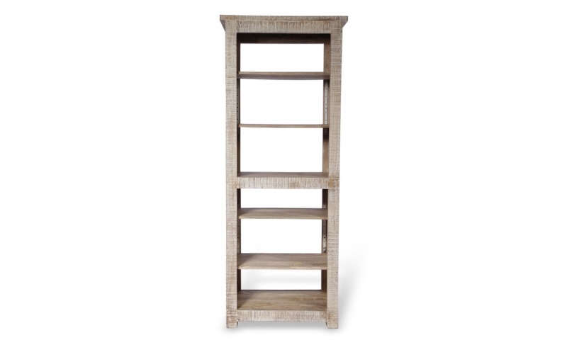 Urban Deco Shabby Chic White Washed Distressed 5 Shelves Tall Bookcase