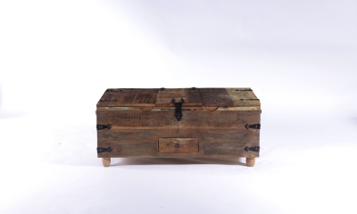 UNIQUE Reclaimed Recycled Shabby Chic 1 Drawer Coffee Trunk with 3 Lids
