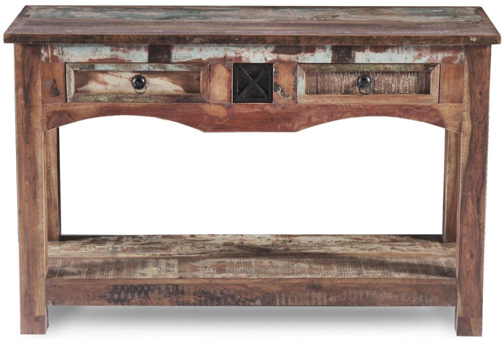 UNIQUE Reclaimed Recycled Shabby Chic 2 Drawer Console Table