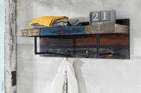 URBAN Vintage Shabby Chic 2 Hooks Coat Rack with Storage