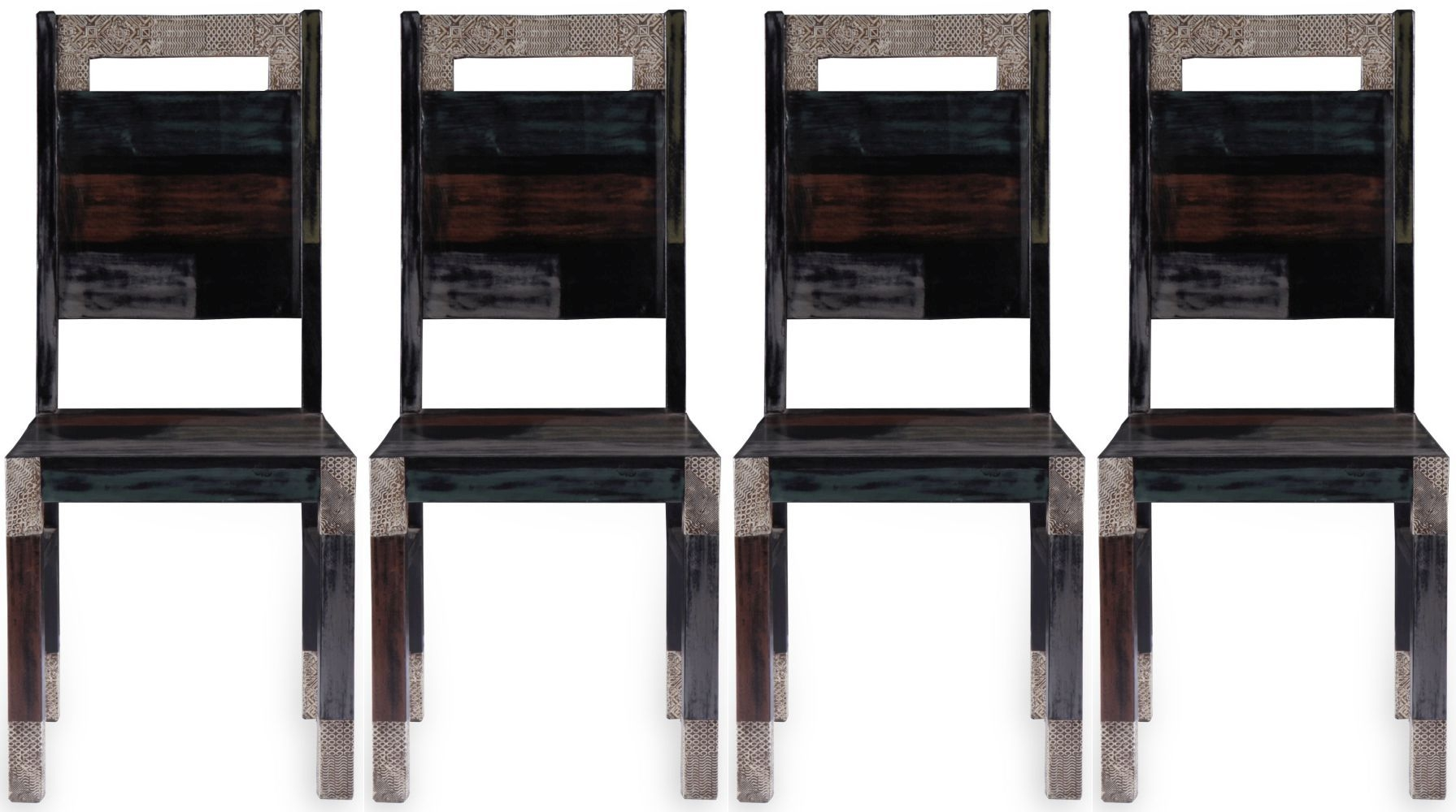 4 x URBAN Vintage Shabby Chic Wooden Dining Chair