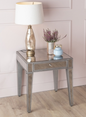 Urban Deco Alhambra Aged Mirrored Side Table