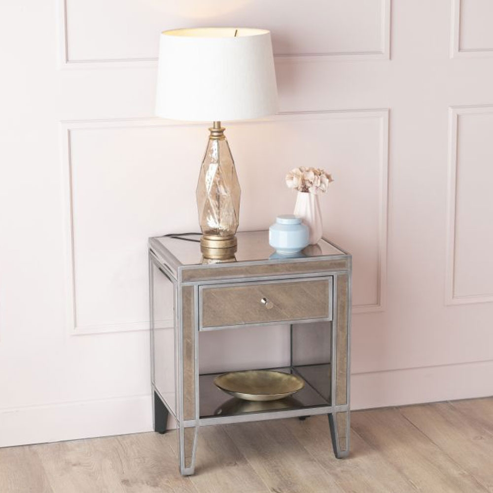 Urban Deco Alhambra Antiqued Mirrored 1 Drawer Bedside Cabinet