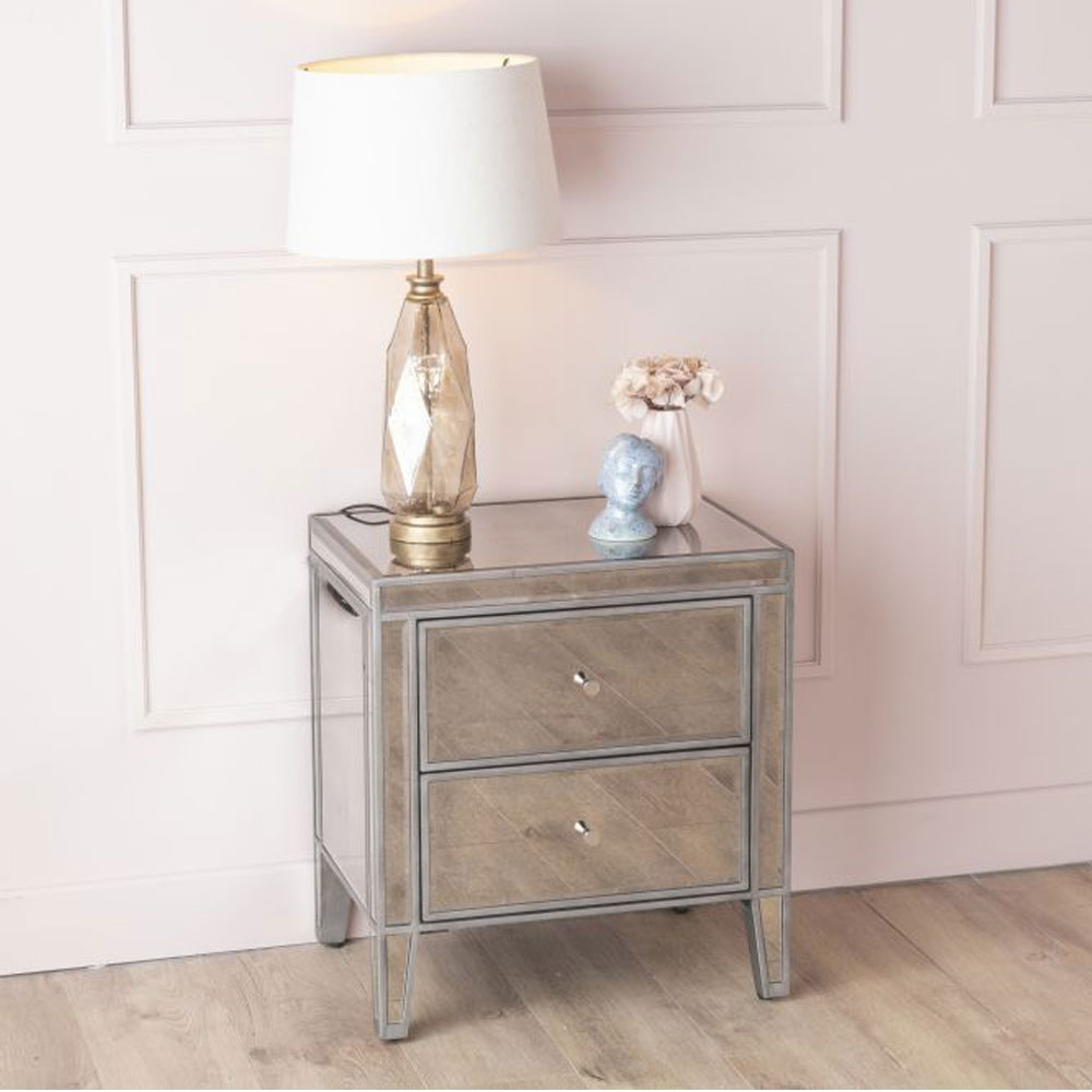 Urban Deco Alhambra Antiqued Mirrored 2 Drawer Bedside Cabinet