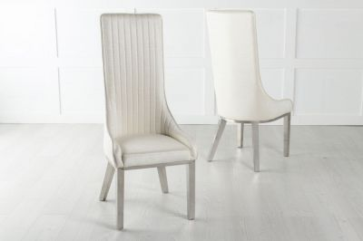 Allure White Extra High Back Faux Leather Dining Chair with Chrome Legs