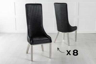 Set of 8 Allure Black Extra High Back Faux Leather Dining Chair with Chrome Legs
