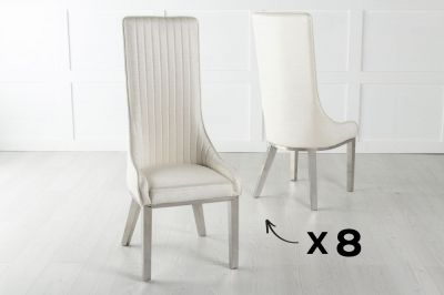 Set of 8 Allure White Extra High Back Faux Leather Dining Chair with Chrome Legs