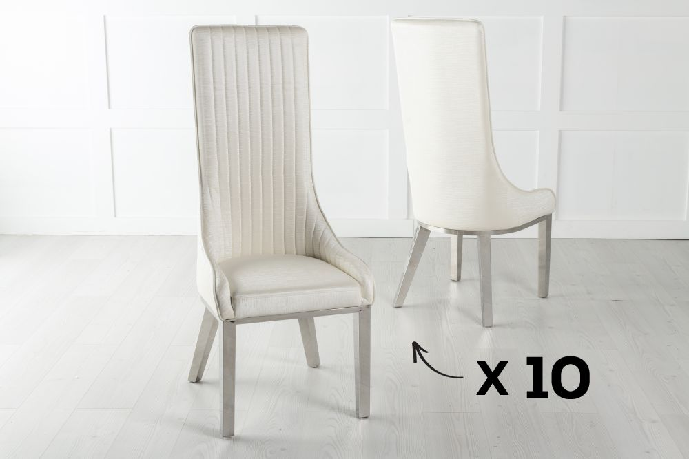 Set of 10 Allure White Extra High Back Faux Leather Dining Chair with Chrome Legs