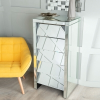 Urban Deco Angled Mirrored 5 Drawer Tall Chest
