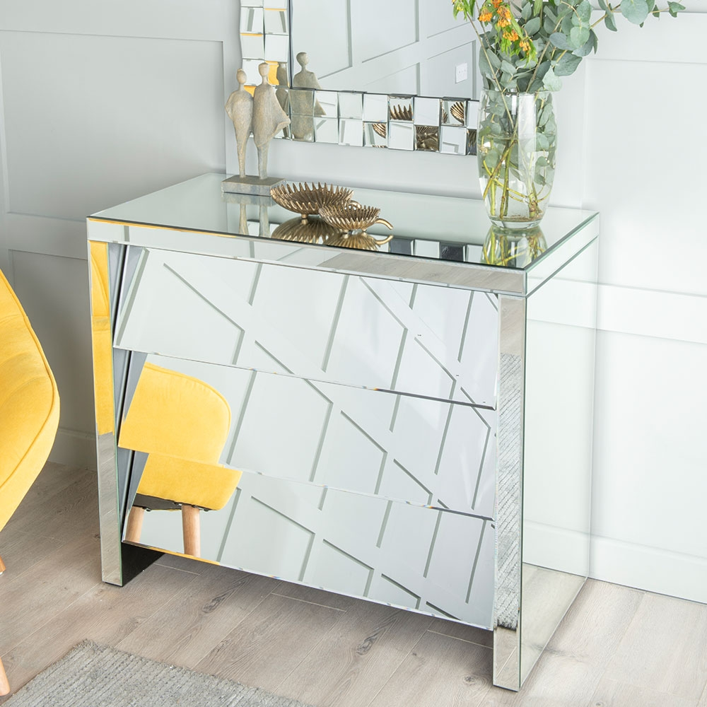 Angled Slanted Mirrored 3 Drawer Wide Chest