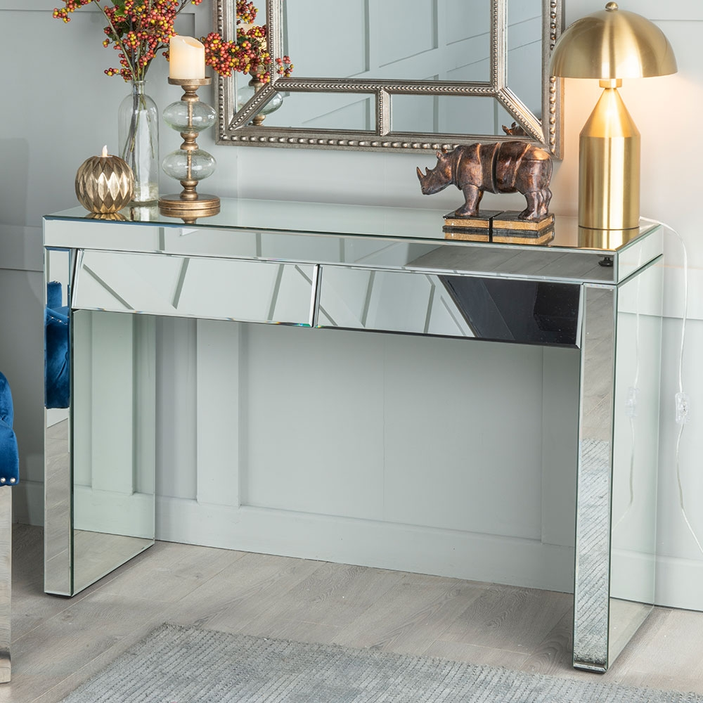 Urban Deco Angled Mirrored Dressing Cum Console Table