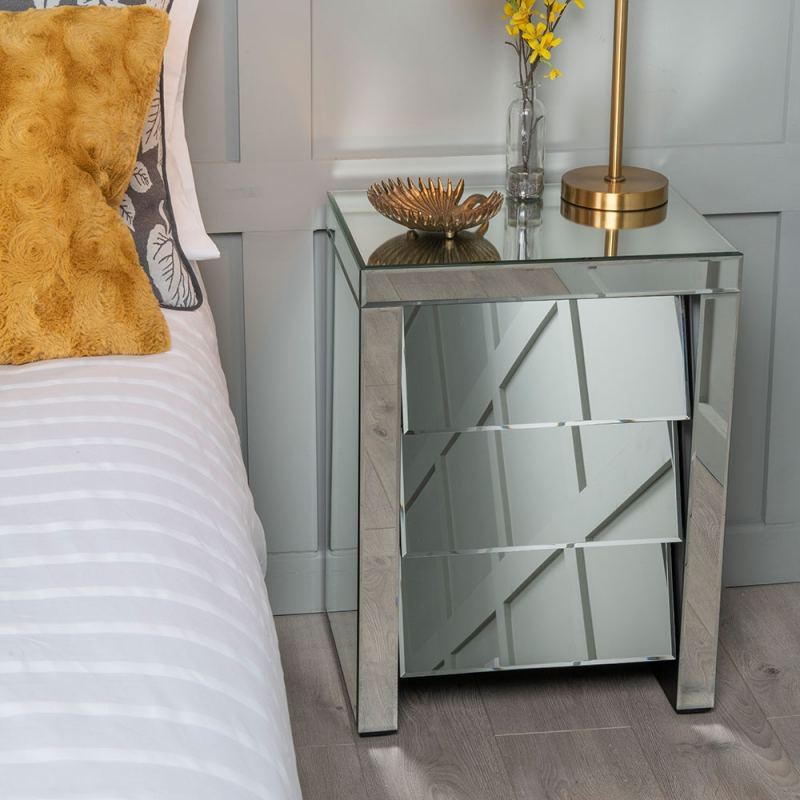 Urban Deco Angled Mirrored Bedside Cabinet