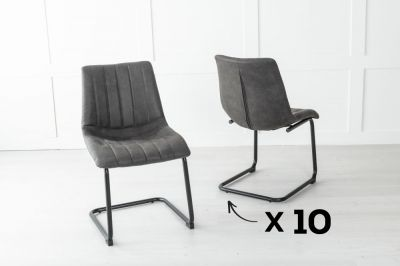 Set of 10 Angles Metal Black Dining Chair