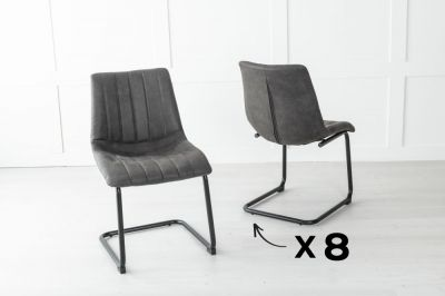 Set of 8 Angles Metal Black Dining Chair