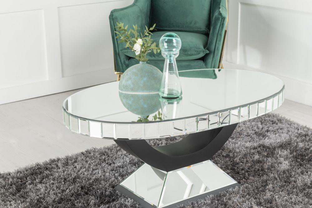 Urban Deco Art Deco Mirrored Oval Coffee Table