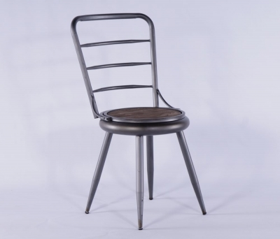 2 X Urban Deco Grey Metal Dining Chair