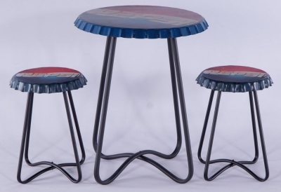 Urban Deco Metal Pepsi Printed Set of 3 Side Tables