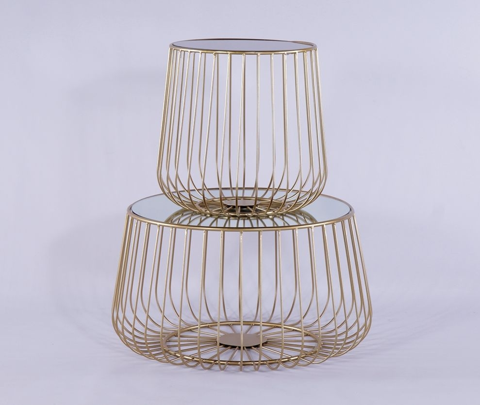 Urban Deco Gold Metal In Clear and Black Glass Set of 2 Tables