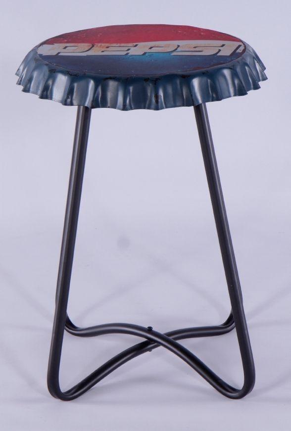 Urban Deco Metal Pepsi Printed Small Side Table