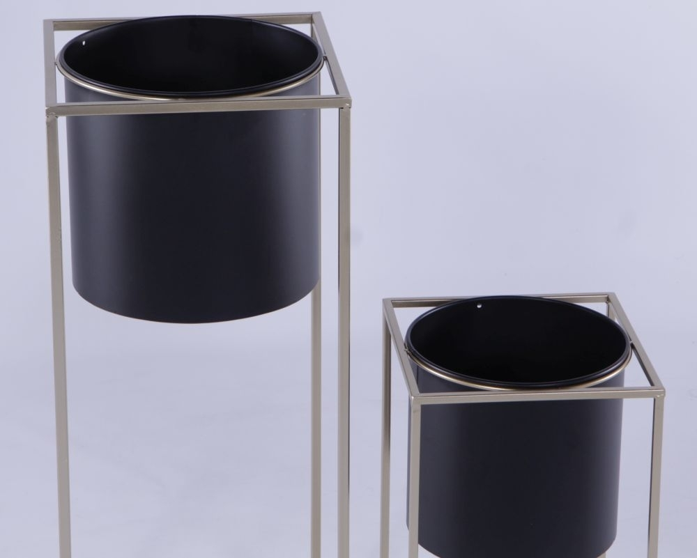 Urban Deco Silver Metal and Black Set of 2 Plant Stand