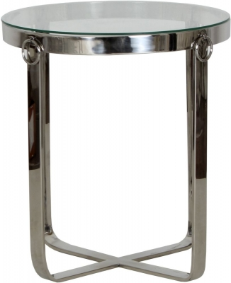 Aula Round Stainless Steel Chrome and Glass Side Table