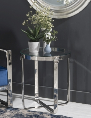 Aula Glass and Chrome Round Side Table