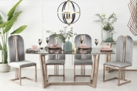 Buy Urban Deco Aurora Brown Marble and Bronze 180cm Dining Table with 4 Troy Grey Chairs and Get 2 Extra Chairs Worth £338 For FREE