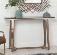 Urban Deco Aurora Console Table - Brown Marble and Stainless Steel Bronze