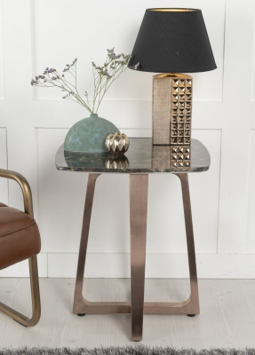 Urban Deco Aurora Brown Marble and Bronze Side Table