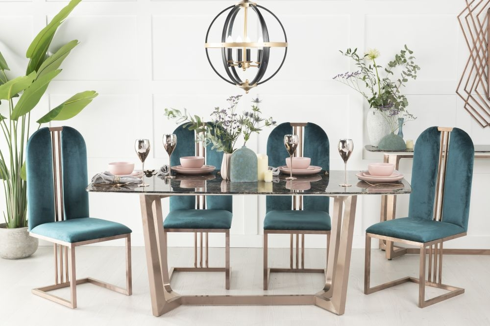Buy Urban Deco Aurora Brown Marble and Bronze 180cm Dining Table with 4 Troy Green Chairs and Get 2 Extra Chairs Worth £338 For FREE