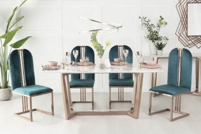 Urban Deco Aurora 180cm White Marble and Bronze Dining Table and 6 Troy Green Chairs