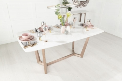 Urban Deco Aurora 180cm White Marble and Bronze Dining Table