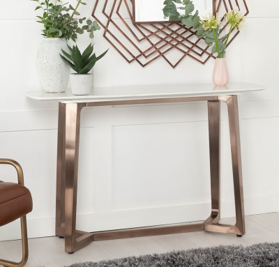 Urban Deco Aurora White Marble and Bronze Console Table