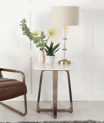 Urban Deco Aurora White Marble and Bronze Side Table