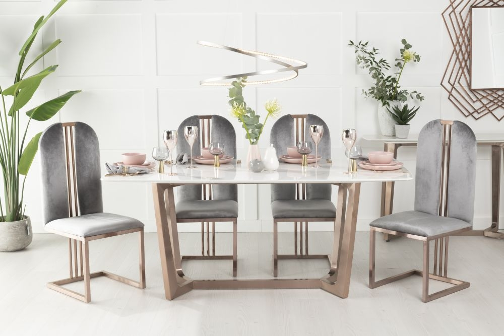 Buy Urban Deco Aurora White Marble and Bronze 180cm Dining Table with 4 Troy Grey Chairs and Get 2 Extra Chairs Worth £338 For FREE