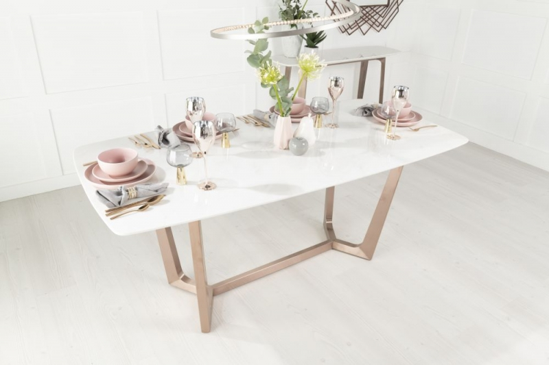 Urban Deco Aurora Dining Table - White Marble and Stainless Steel Bronze