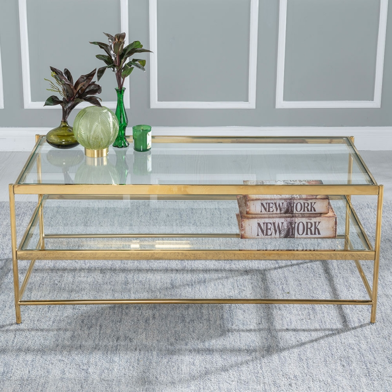 Urban Deco Baker Coffee Table - Glass and Stainless Steel Gold