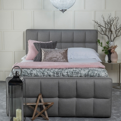Urban Deco Cube Elephant Grey Fabric 5ft King Size Ottoman Storage Bed