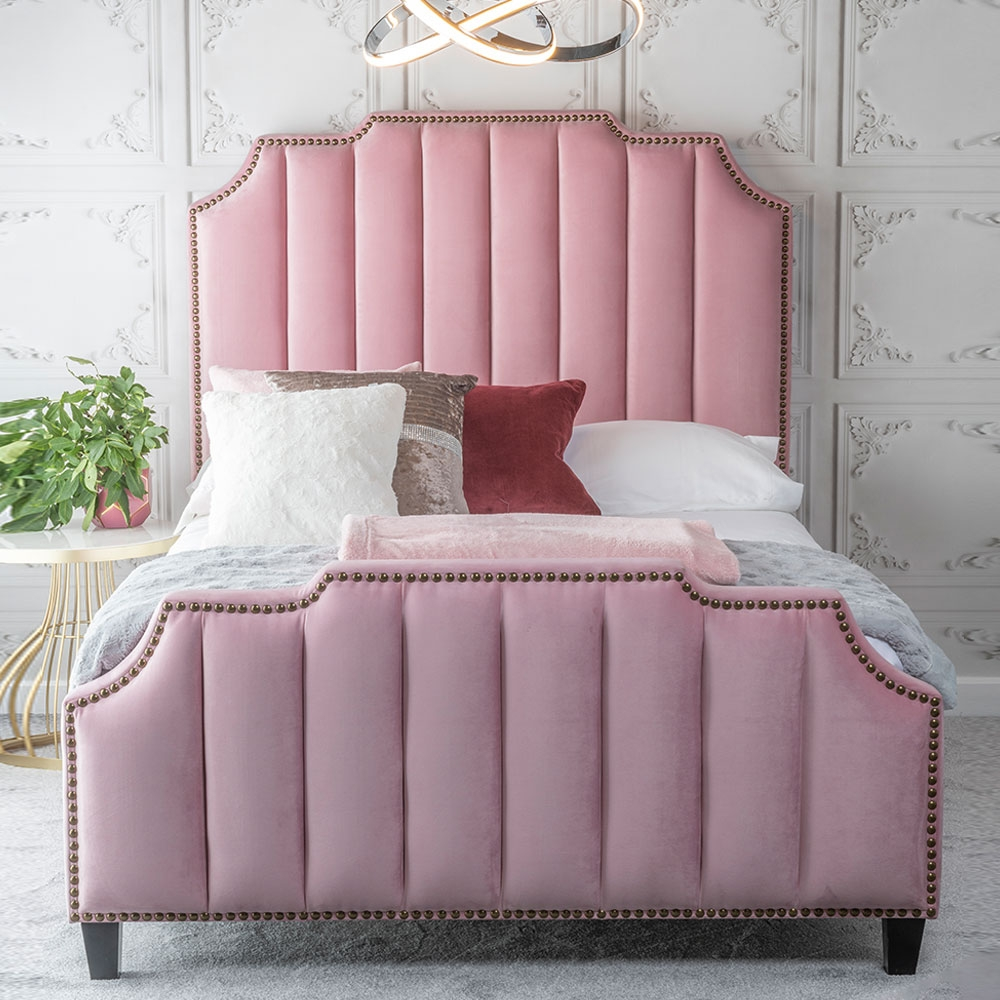 Urban Deco Charlotte Blush Pink Fabric Bed