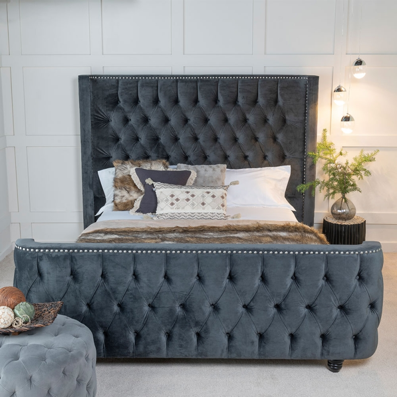 Urban Deco Grandee Charcoal Grey Fabric Bed