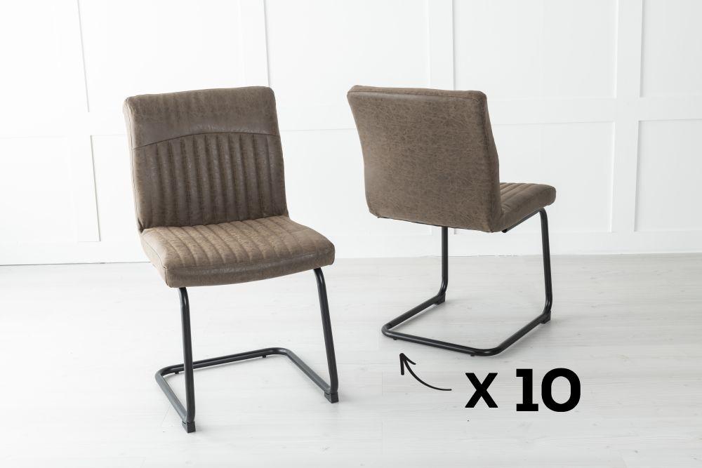 Set of 10 Brooklyn Metal Brown Dining Chair