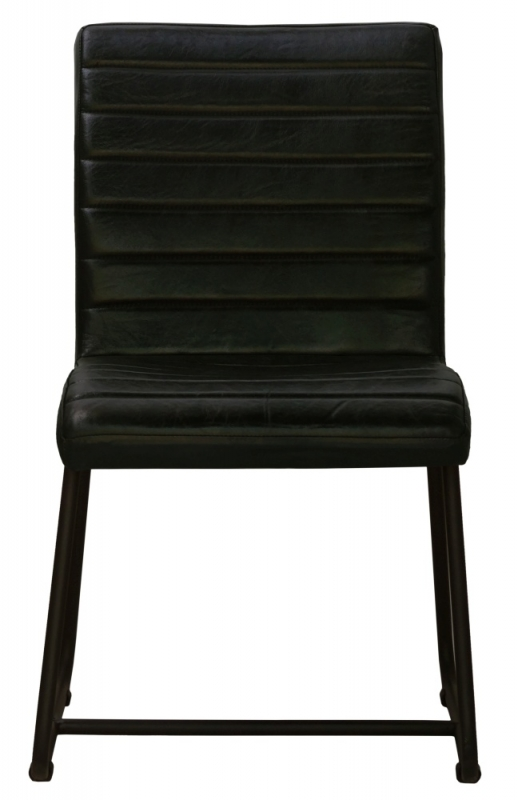 Brooks Genuine Leather Dining Side Chair - Black