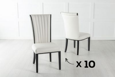 Set of 10 Cadiz White Faux Leather Dining Chair