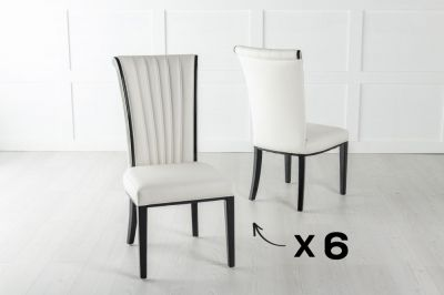 Set of 6 Cadiz White Faux Leather Dining Chair