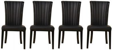 4 x Urban Deco Cadiz Black Faux Leather Dining Chair